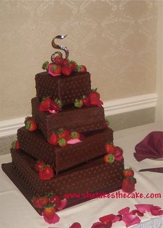 Tera's chocolate strawberry overload by Nonpareils Boutique Bakery (aka She Takes The Cake, via Flickr chocol cake, creativ cake, groom cake, amaz cake