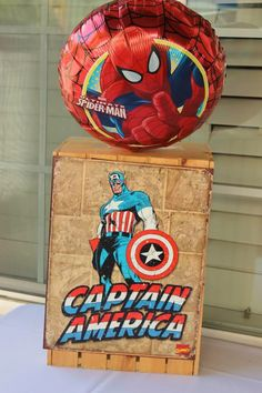 Vintage Superhero themed birthday party with SUPER AWESOME IDEAS via Kara's Party Ideas | KarasPartyIdeas.com #vintageboyparties #supeheroes...