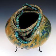 Claudia Plfueger, gourd art, Pine Needle Coil Turquoise