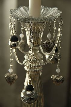 Mercury Glass & Crystal Beaded Bobeche Candle Holder