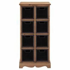 """Cabinet with a wood frame and 8 wire baskets.  Product: CabinetConstruction Material: Wood and wireColor: Brown and naturalFeatures: Eight baskets includedDimensions: 47"""" H x 35"""" W x 15"""" D"""