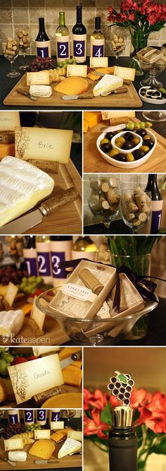 """""""Maison du Vin"""" Wine Cork Place Card Holders   """"Vintage Reserve"""" Stainless-Steel Spreaders.  """"Olive You"""" Olive Dish and Spreader Add some pizzazz to your wine tasting party with Favor Couture's Wine Themed Favors.  favorcouture.theaspenshops.com"""