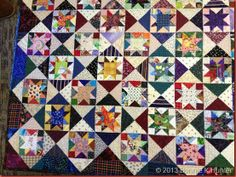 "Joyce's Scrappy Stars Close!  There are 200 4"" stars in this quilt!"