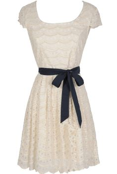 Navy and Ivory Tiered Dotted Dress