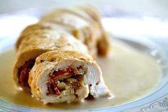 stuffed chicken, chicken breasts, white wines, olive oils, chicken bacon, sauces, tasti recip, bacon roulad, simply recipes