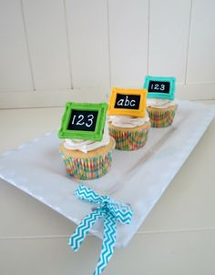 Chalkboard cupcake toppers
