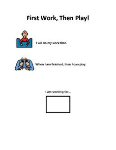 First Work, Then Play Board with pictures of preferred activities.  Great for Students with Autism who need structure and who need to know what is coming next!