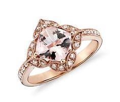 Vintage Morganite and Diamond Ring in 14k Rose Gold (0.19 ct. tw.) #bluenile