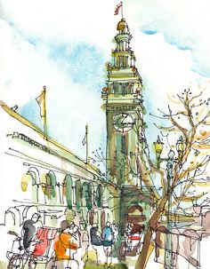 Ferry Building Sketch San Francisco sketch california art print from an original watercolor sketch - 8x10 inches. via Etsy.