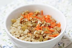 Carrot Cake: Make your oatmeal reminiscent of carrot cake with shredded carrots, walnuts, raisins and brown sugar. Top with a scoop of cream cheese frosting, if you have it for a true carrot cake experience. #BRMOatmeal