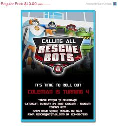 Transformers Rescue bots birthday party invitation with or without photo. $7.50, via Etsy.