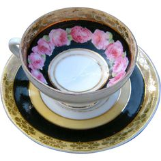 Beautiful Delicate Vintage English China Hand Painted Roses Tea Cup and Saucer