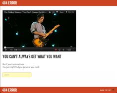 """404 error page on The Rolling Stones' website autoplays """"You Can't Always Get What You Want"""""""