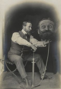 "ca. 1899, [silver print portrait of a gentleman inflating an enlarged duplicate of his own head -""Un Coup de Pompe, S.V.P."""