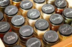 spices in baby food jars with chalkboard lids.