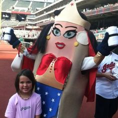 Have you ever wondered what Wonder Woman would look like as a hot dog?  Wonder no more!  Taken at a Cleveland Indians game at Progressive Field (thanks Char!)