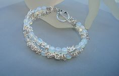 Bracelet  Open Bangle-Double Strand Blue Opalite by CrookedCrystal, $22.50