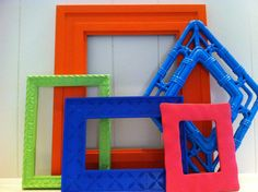 Frame Collage Funky Bright Home Decor Upcycled by FeFiFoFun, $42.00