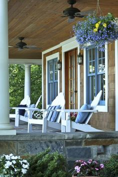 front porch in blue of one of the guesthouses