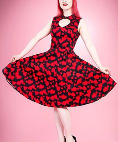 This Black & Red Heart Cutout Fit & Flare Dress - Women is perfect! #zulilyfinds