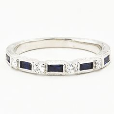 Vintage Sapphire and Diamond Ring in 18K White Gold diamond rings