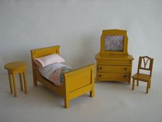 Antique 30s Dollhouse Furniture   Bedroom Set in One by TheToyBox, $60.00