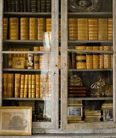 love this old bookcase full of old books and curiosities