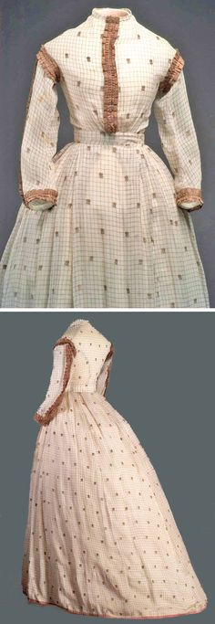 Linen taffeta dress, ca. 1865. Bodice, shoulders, and cuffs trimmed with pleated taffeta ribbon in brown silk. Waistband reinforced with white cotton taffeta. Small pocket on left side. Museo del Traje dress