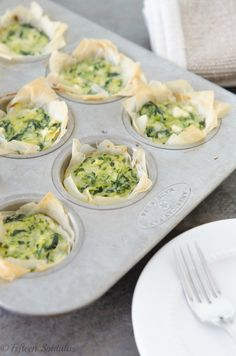 Zucchini Spinach & Feta Phyllo Bites from @Shonda Clements Clements Chadwick Spatulas.  This would be delicious with homemade tzatziki on the side.