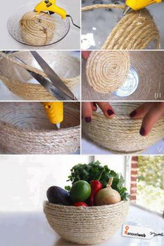 use a plastic bowl (from the .99 cent store) and hot glue rope along the bowl and let it dry