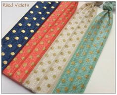 Navy Coral Ivory and Dark Mint Gold Polka Dot HAIR by RiledViolets, $5.25