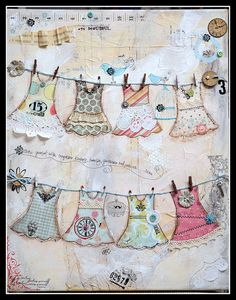 Mixed Media Clothes Line.. I'd love this on a canvas for the laundry room!
