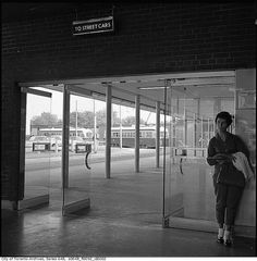 Bus and street car loop at St. Clair station, Toronto, 1961. #vintage #Canada #1960s