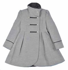 Amazon.com: Rothschild Big Girls Grey Military Style Wool Outerwear Coat: Clothing