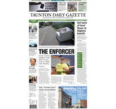 The front page of the Taunton Daily Gazette for Saturday, Sept. 6, 2014.