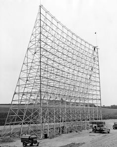 Construction of the Sky View Drive-in theater at 72nd and Hartman in Omaha in 1954. The theater's screen was 80 feet high. THE WORLD-HERALD