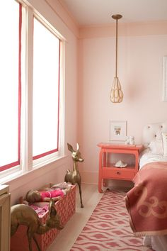 Madeline Weinrib Pink Ikat Cotton Carpet, interior by Traci of Nursery Works and Tamara Honey of House of Honey, via Apartment Therapy.  i think i need a brass deer that size