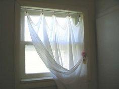 Homemade gauze curtains