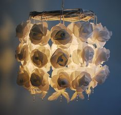 White Roses Paper Chandelier - Handmade Flower Ceiling Lampshade on Etsy, $194.98 AUD