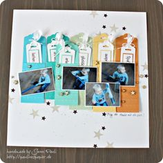 We love the use of the scallop tag topper punch to create journaling tags for this inventive layout.
