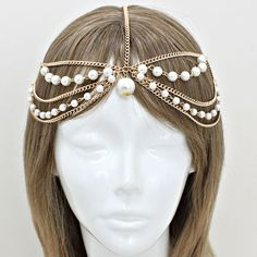 Bohemian Gold Pearl Multi Layer Head Chain Headpiece, Grecian headchain, House Of Harlow Style Gypsy head jewelry, Wedding Haadchain on Etsy, $17.95