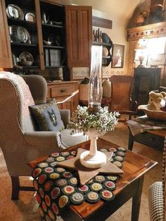 Prim Country Living...love the penny rug on the table.