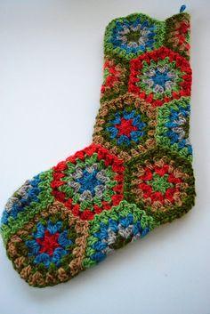 Crochet Granny Square Christmas Stockings