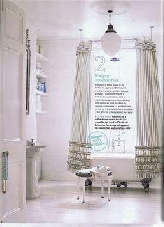 ruffled striped shower curtain x 2