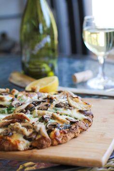 Roasted Chicken & Mushroom Pesto Pizza | http://www.theroastedroot.net #glutenfree