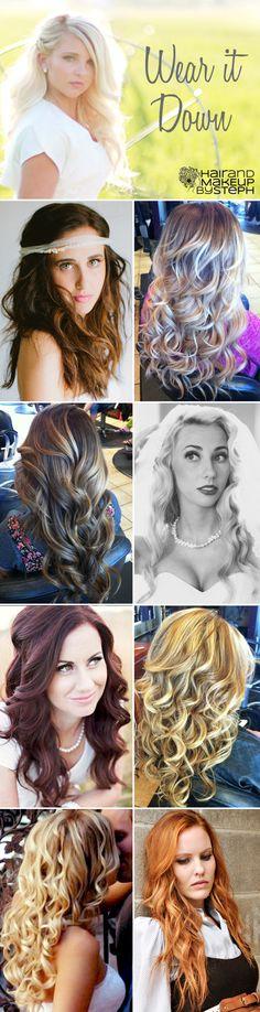 All down hairstyles via blog.hairandmakeupbysteph.com