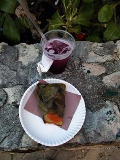 Bean #tamales with meat and red #salsa and a #blueberry daiquiri | #mexicanfood #Mexico