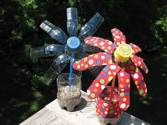 Looking for a fun way to recycle some of those plastic water and soda bottles? Here's a fun project for kids that uses the entire bottle, label and all! You can make a plain one that's boy friendly and call it a palm tree! Fun craft for summer camp too.