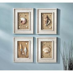 Beach bathroom decor - great idea for the sand and sea shells the kids collected!