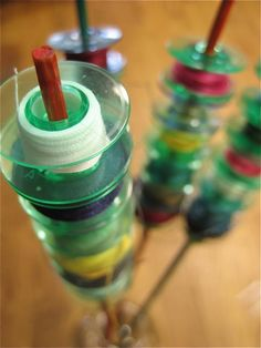 Keep bobbins organized on bamboo skewers: Here's how...